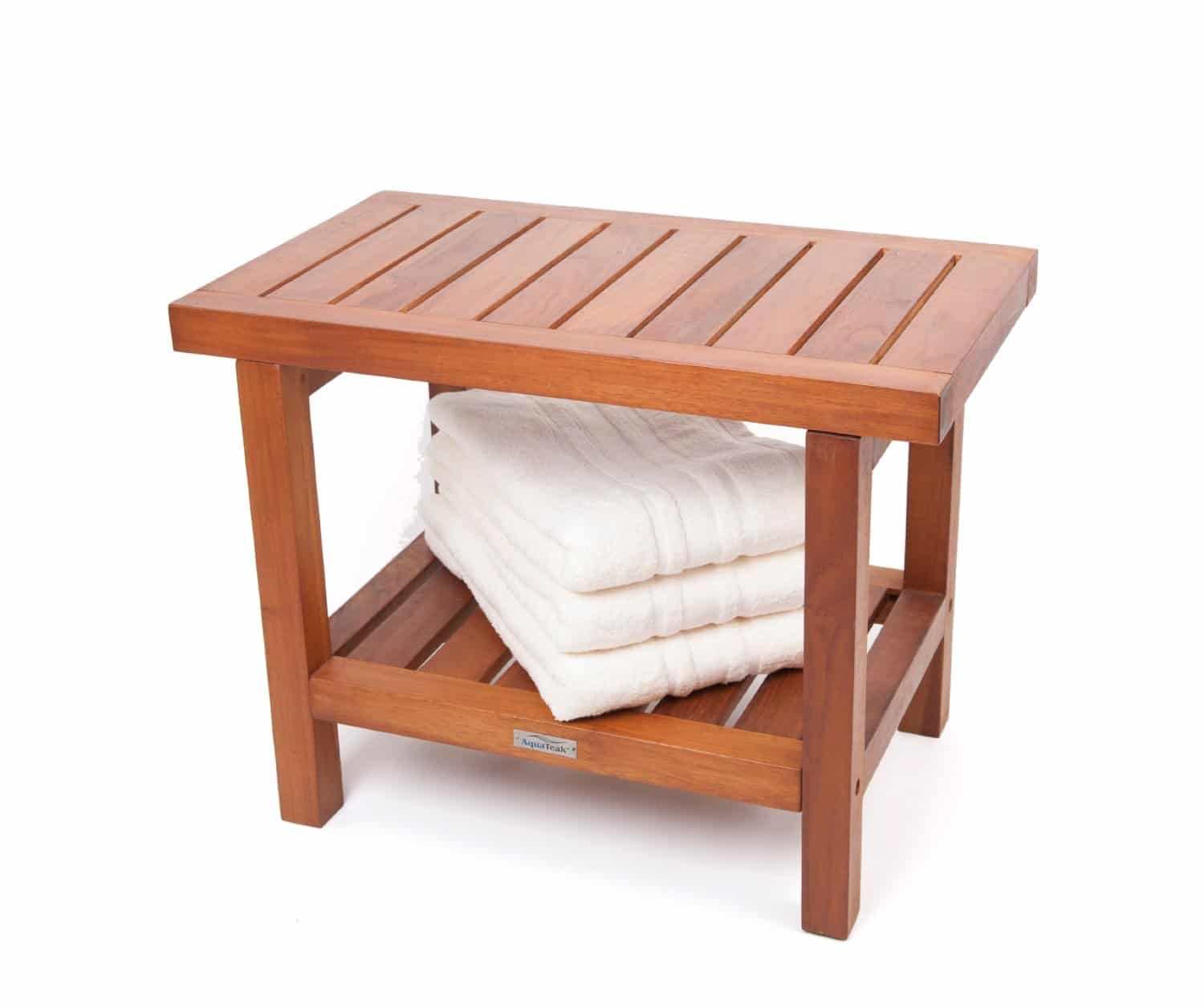 20 ergonomic teak spa stool with shelf and lift aide arms teak patio furniture world Bath bench