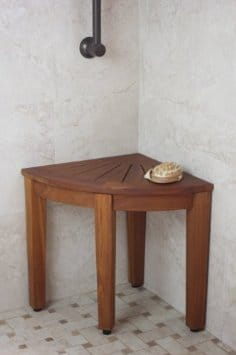 corner solid teak shower stool bath and spa bench