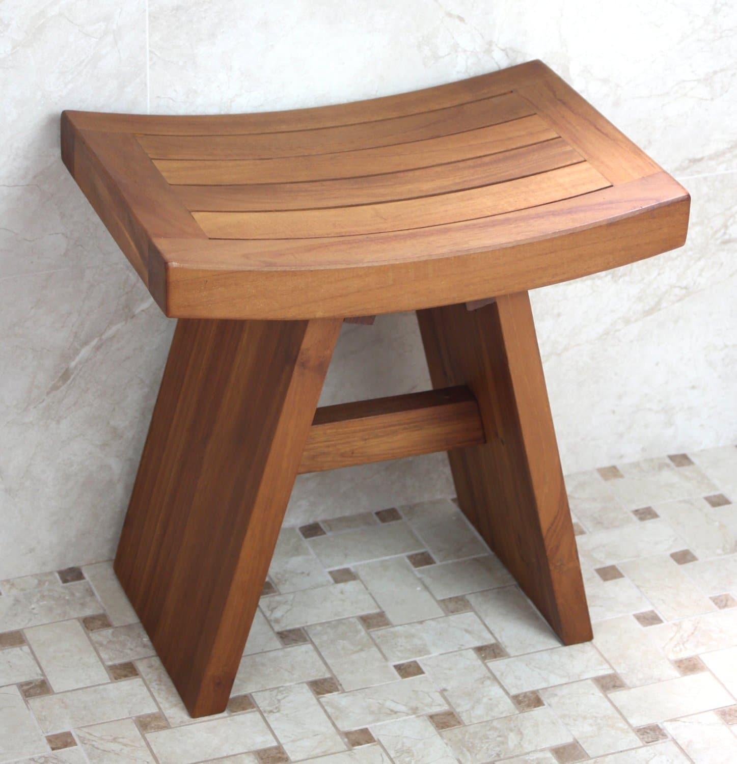 solid teak indoor outdoor asian shower stool
