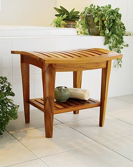 Give Your Bath A Luxury Spa Feel With Teak Shower Bench And Floor Mat